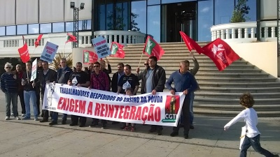 Manifestação de trabalhadores do casino da Póvoa contra o seu despedimento
